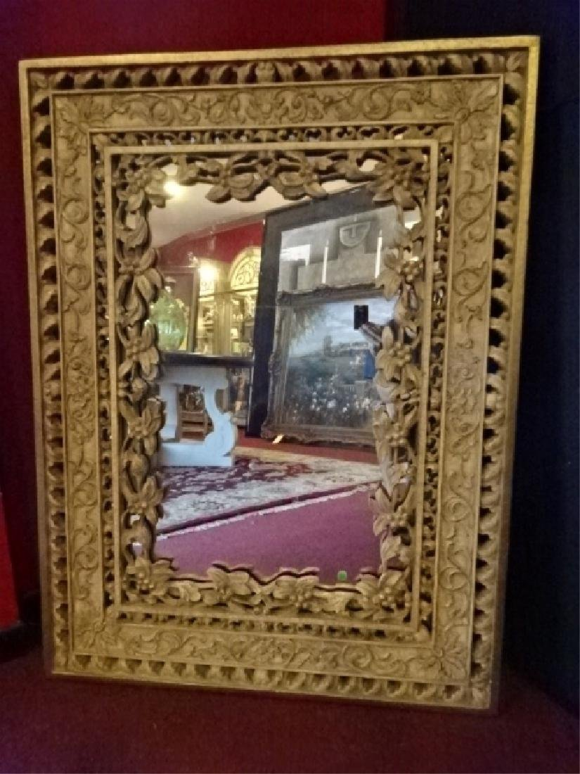 ORNATE RECTANGULAR MIRROR, FOLIATE AND FLORAL DESIGNS, - 2