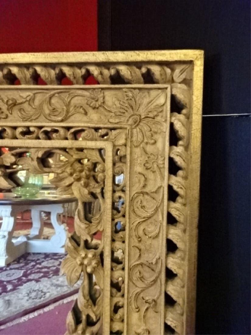ORNATE RECTANGULAR MIRROR, FOLIATE AND FLORAL DESIGNS, - 3