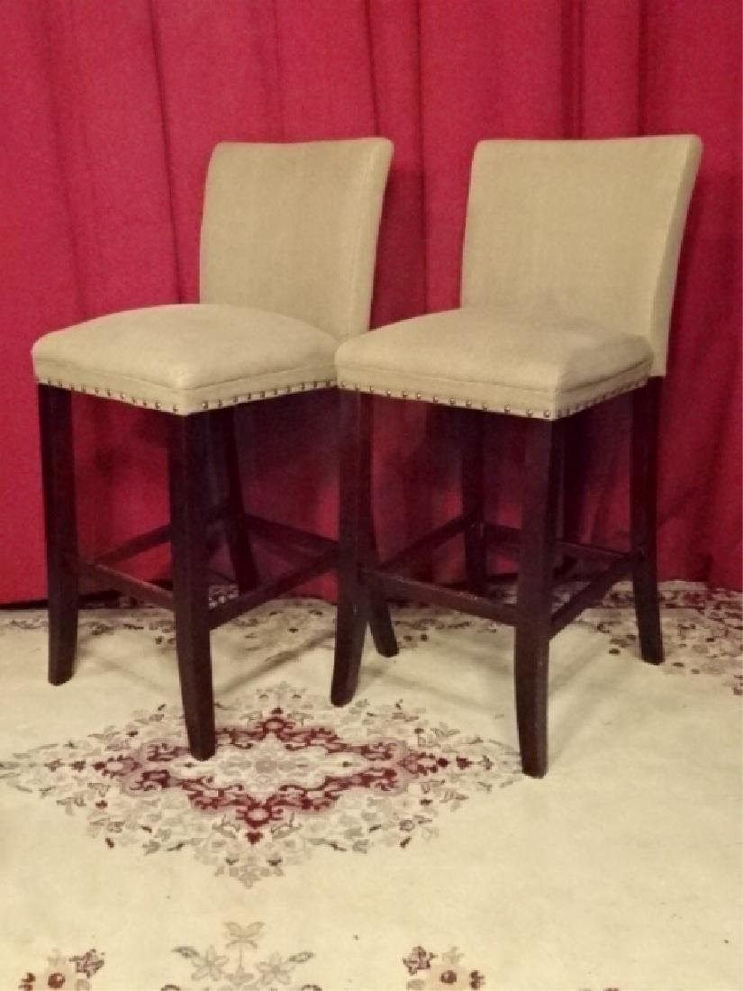 PAIR CONTEMPORARY BARSTOOLS, COUNTER HEIGHT, TAUPE