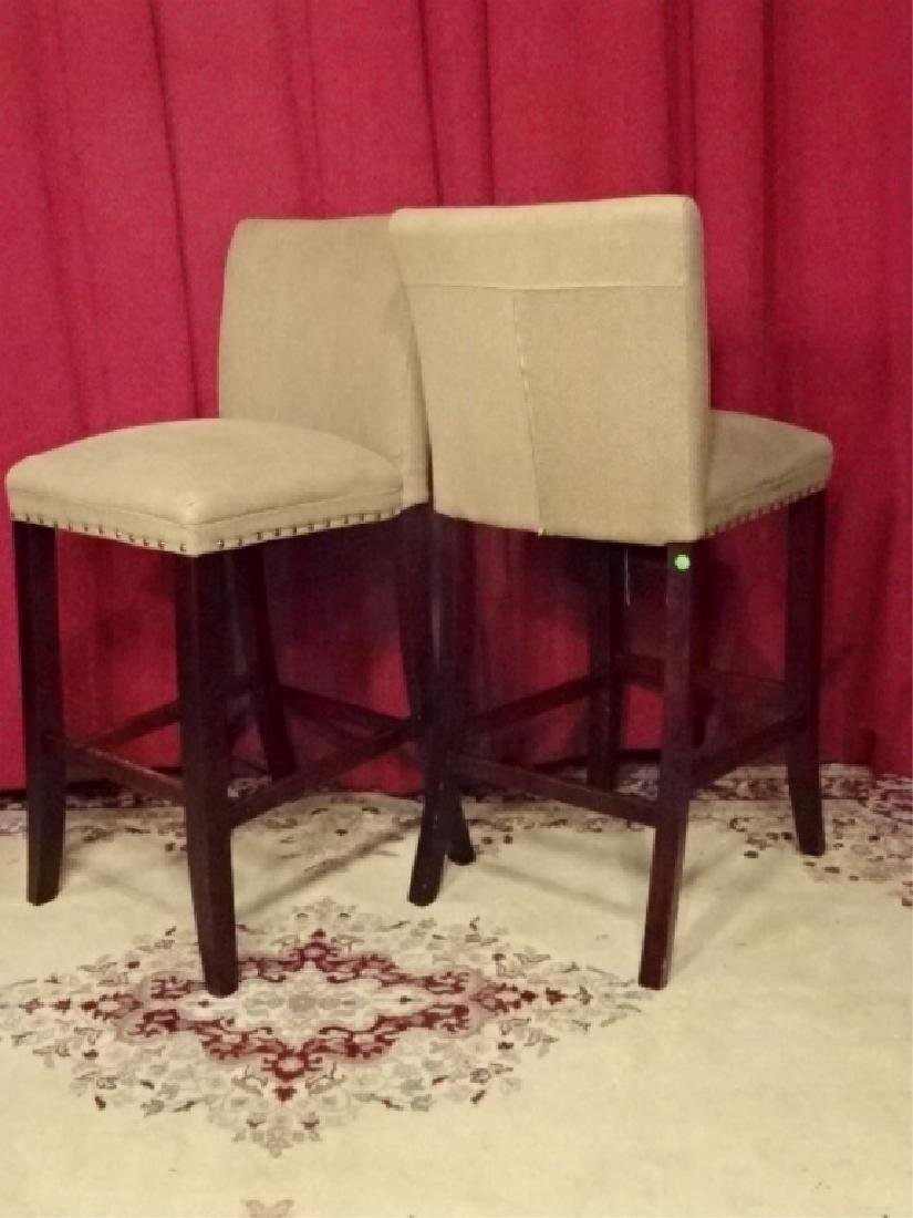 PAIR CONTEMPORARY BARSTOOLS, COUNTER HEIGHT, TAUPE - 6