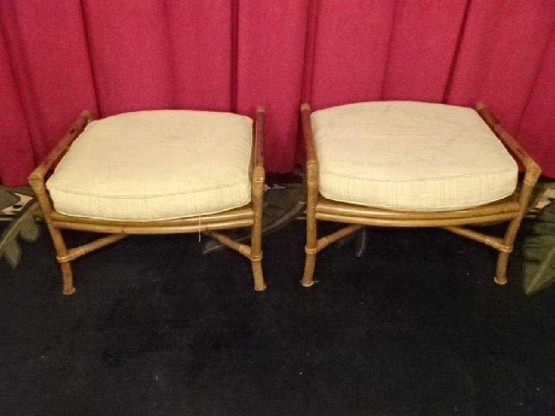 PAIR FICKS REED BAMBOO OTTOMANS, WITH FICKS REED - 2
