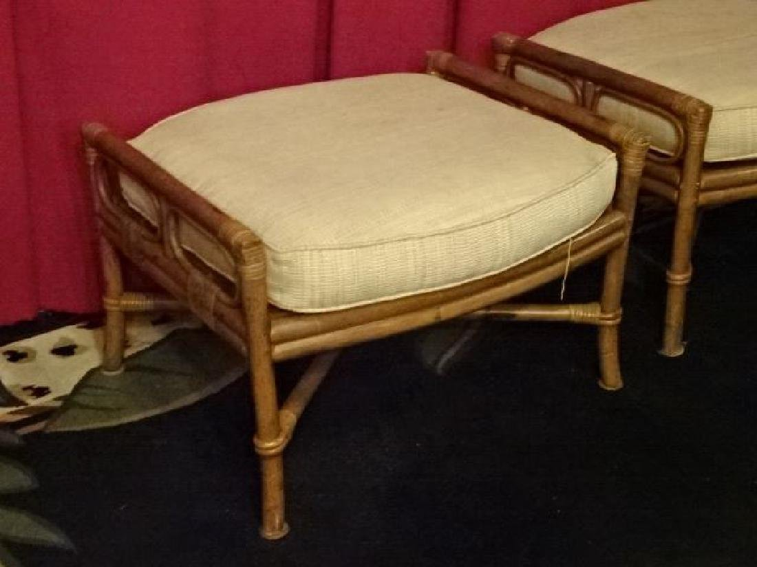 PAIR FICKS REED BAMBOO OTTOMANS, WITH FICKS REED - 3