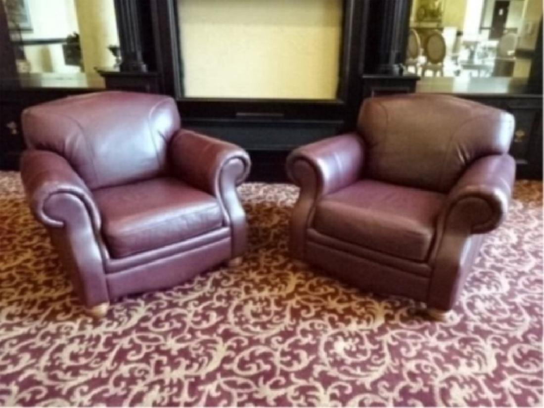 PAIR BURGUNDY LEATHER CLUB CHAIRS, ROLL ARMS, VERY GOOD