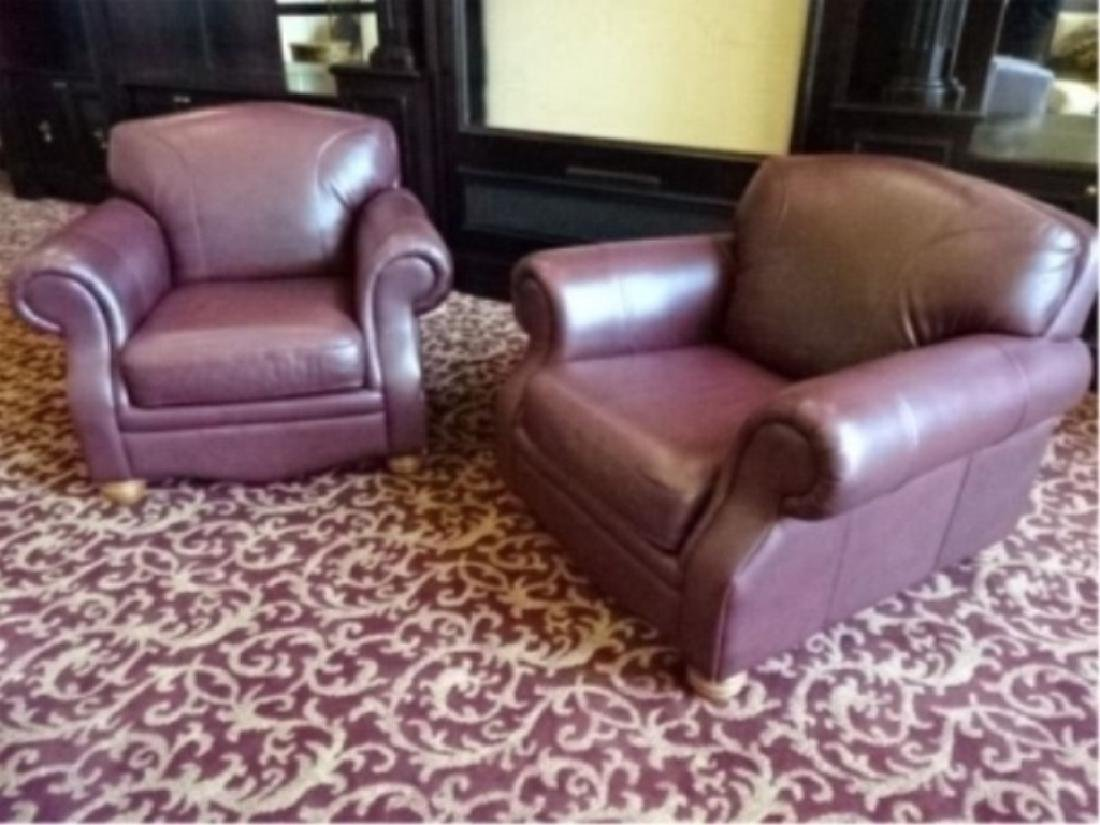 PAIR BURGUNDY LEATHER CLUB CHAIRS, ROLL ARMS, VERY GOOD - 2