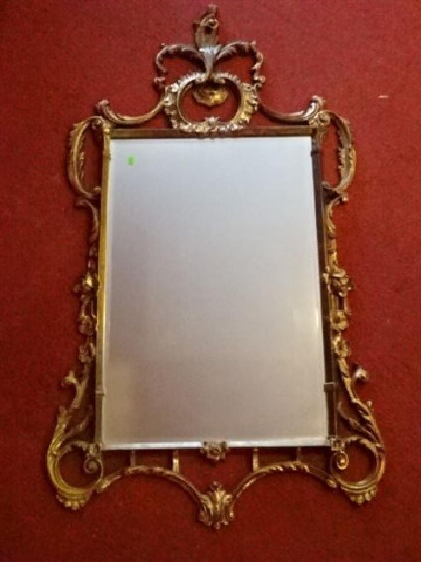 "ROCOCO GILT WOOD MIRROR, VERY GOOD CONDITION, 53""H X"