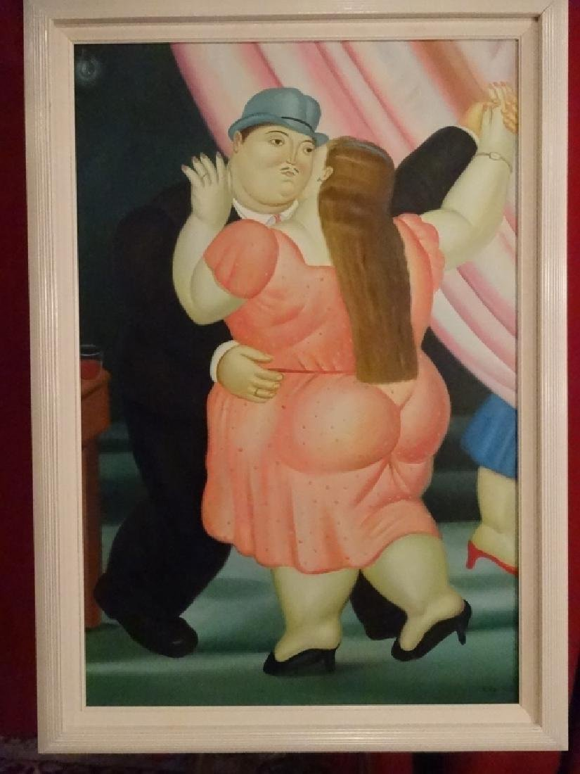 BOTERO STYLE PAINTING ON CANVAS, MAN AND WOMAN, SIGNED