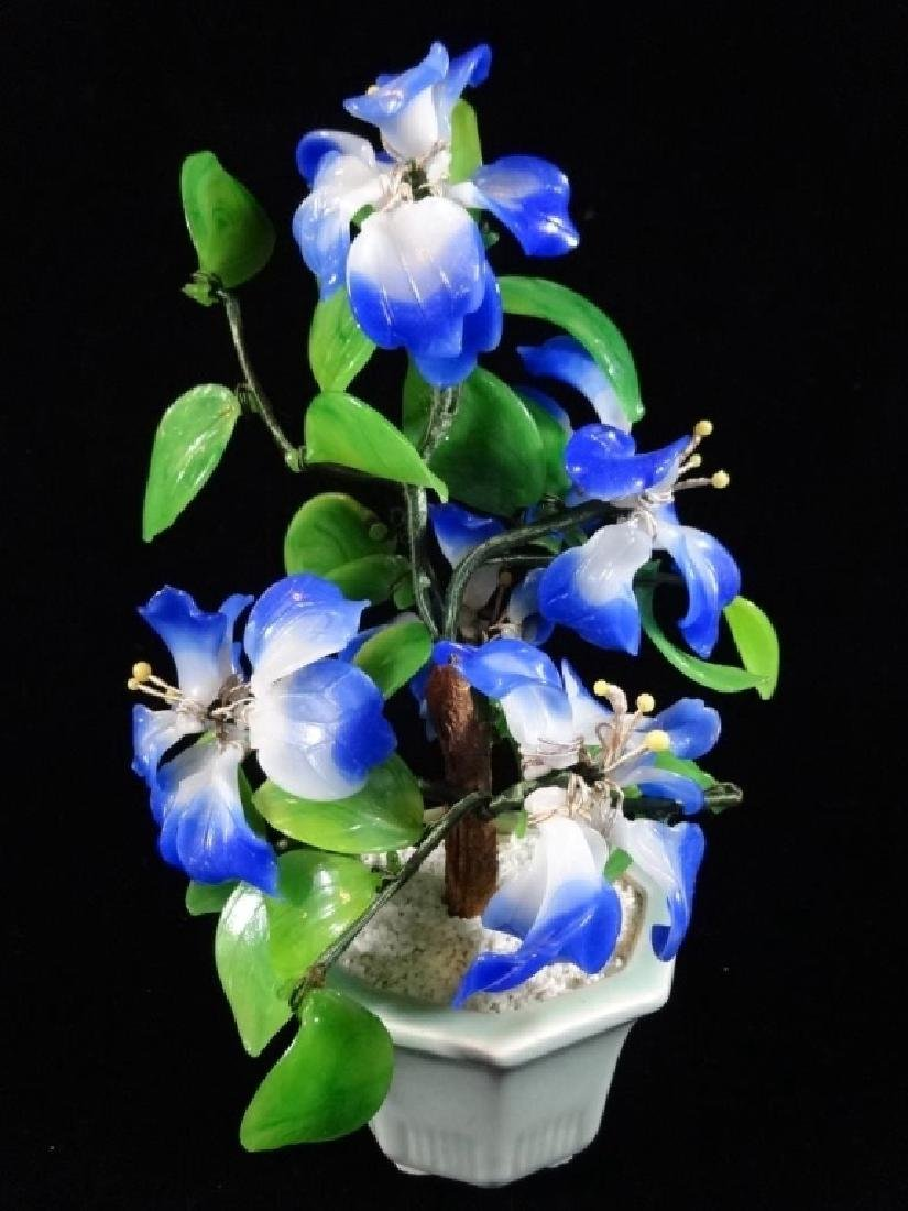 CHINESE STONE FLOWERING TREE, BLUE AND WHITE BLOSSOMS,