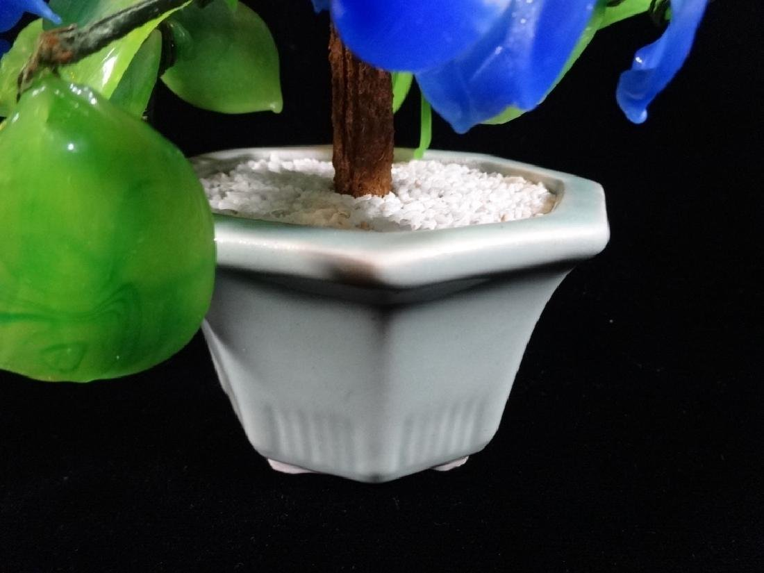 CHINESE STONE FLOWERING TREE, BLUE AND WHITE BLOSSOMS, - 2