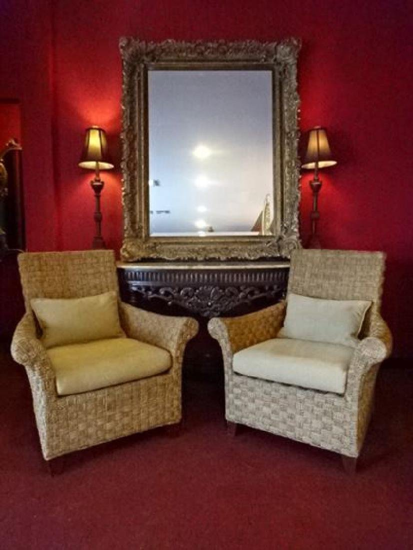 PAIR CRATE AND BARREL WOVEN RATTAN ARMCHAIRS, LIGHT OFF