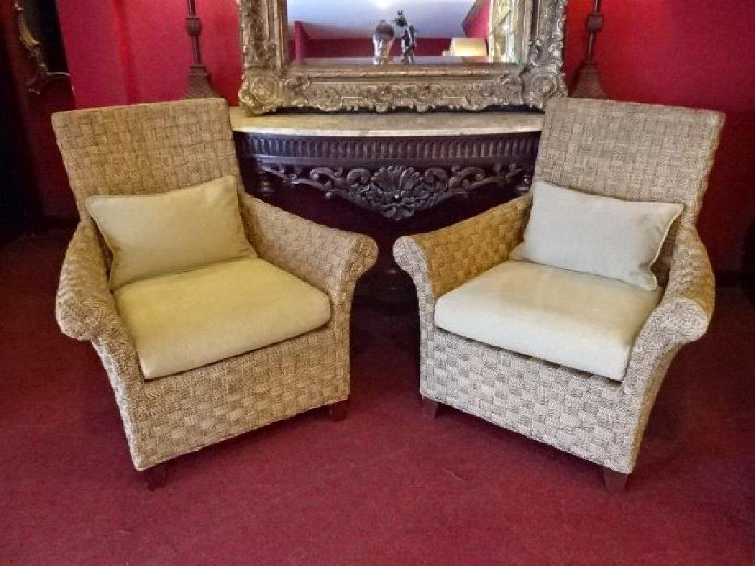 PAIR CRATE AND BARREL WOVEN RATTAN ARMCHAIRS, LIGHT OFF - 2