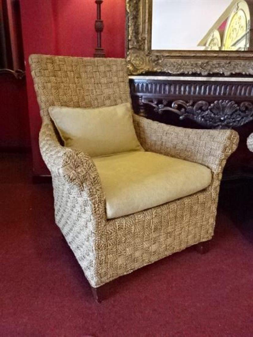 PAIR CRATE AND BARREL WOVEN RATTAN ARMCHAIRS, LIGHT OFF - 3