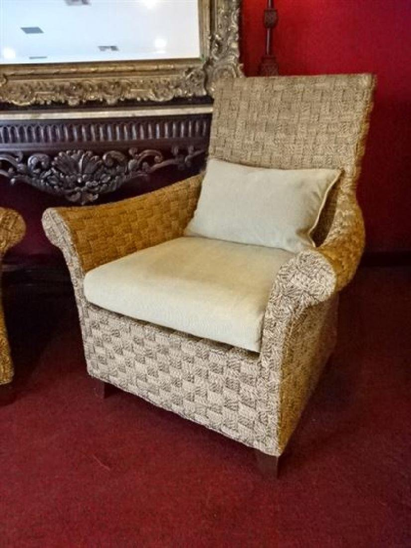 PAIR CRATE AND BARREL WOVEN RATTAN ARMCHAIRS, LIGHT OFF - 4