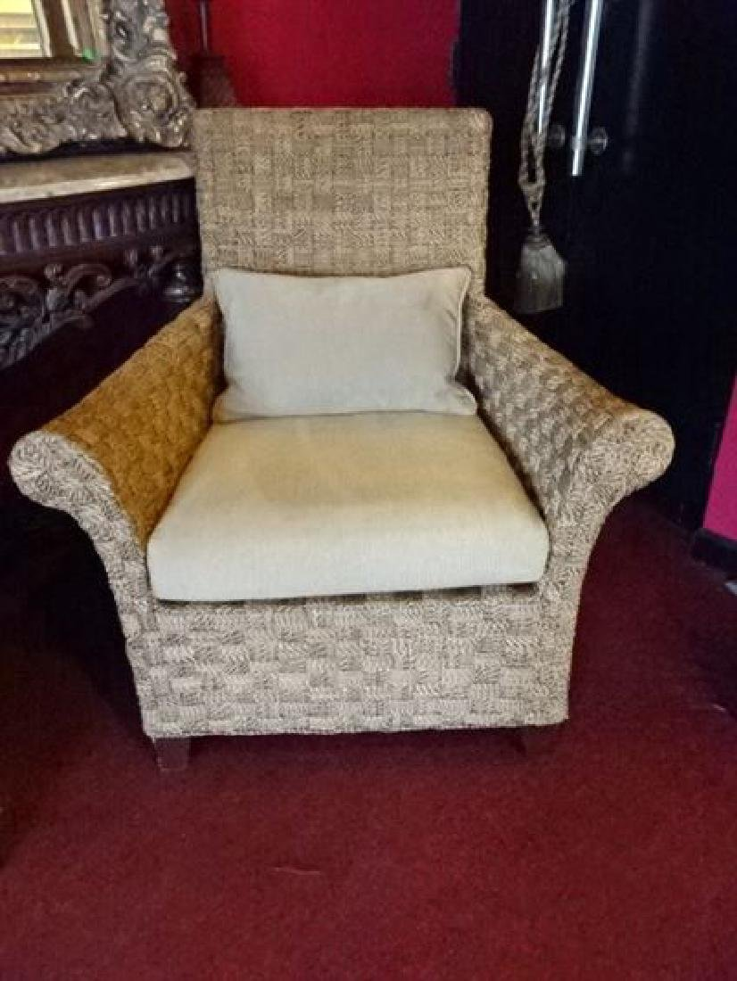 PAIR CRATE AND BARREL WOVEN RATTAN ARMCHAIRS, LIGHT OFF - 5