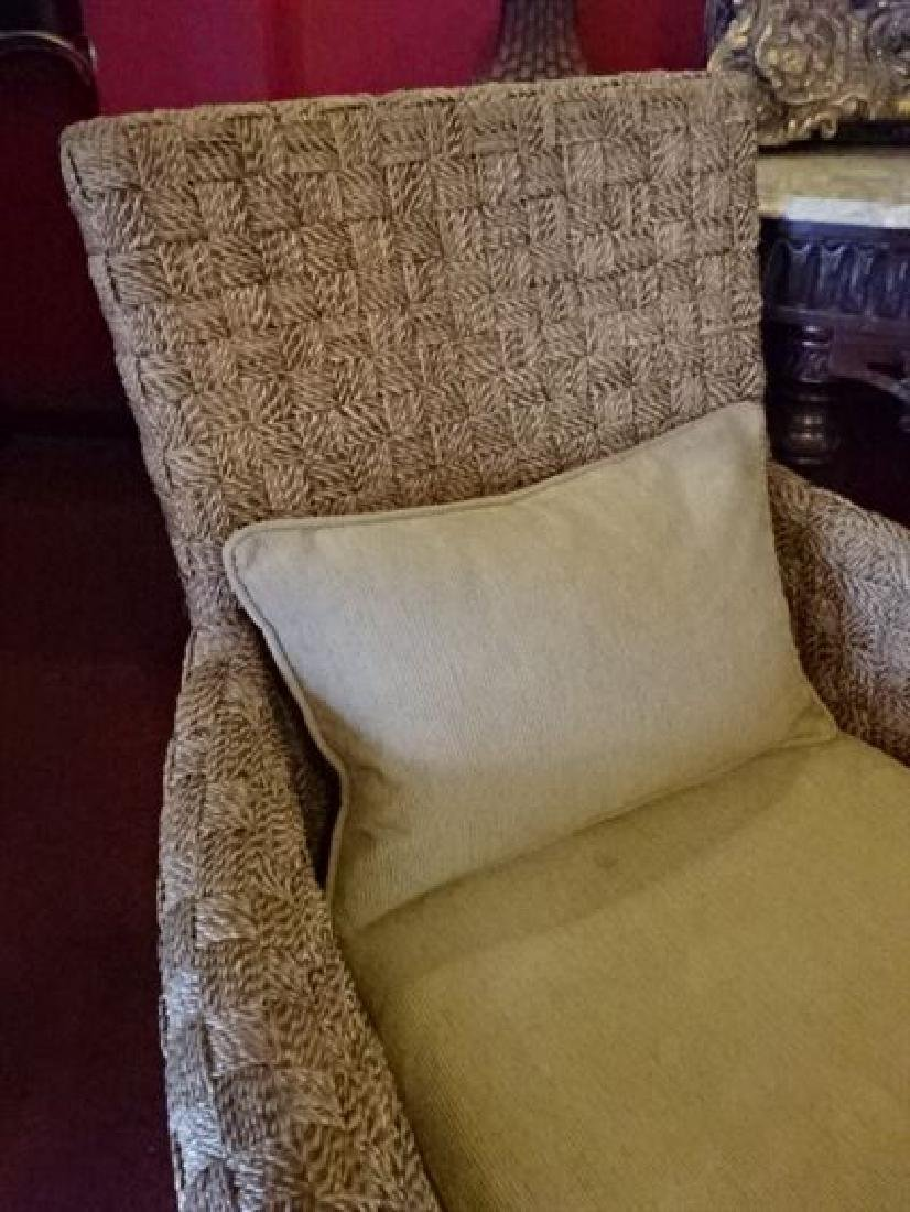 PAIR CRATE AND BARREL WOVEN RATTAN ARMCHAIRS, LIGHT OFF - 6
