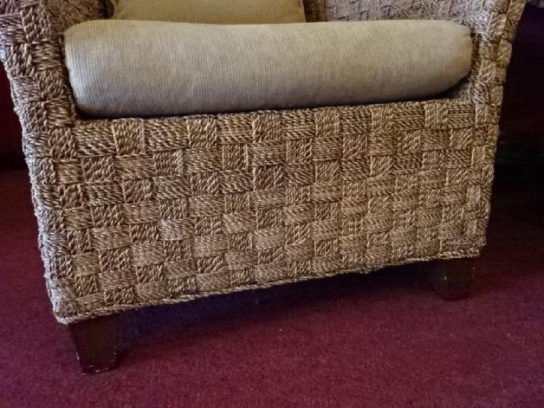 PAIR CRATE AND BARREL WOVEN RATTAN ARMCHAIRS, LIGHT OFF - 7