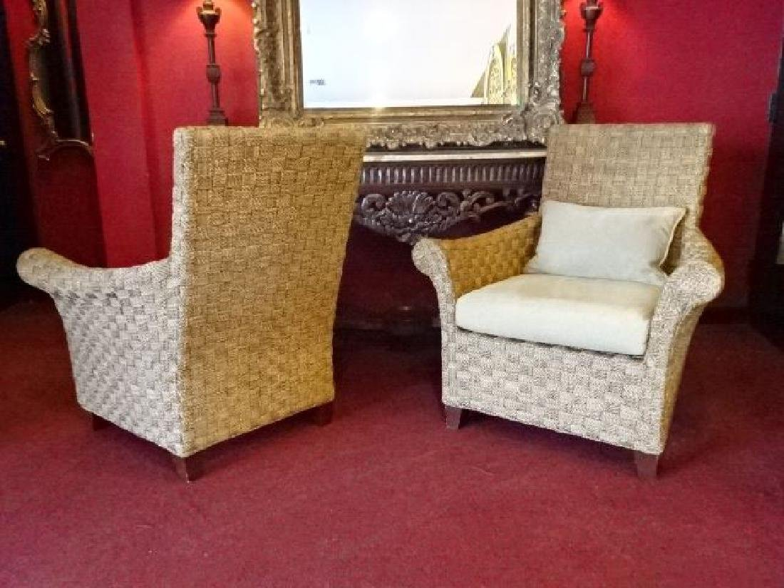 PAIR CRATE AND BARREL WOVEN RATTAN ARMCHAIRS, LIGHT OFF - 8