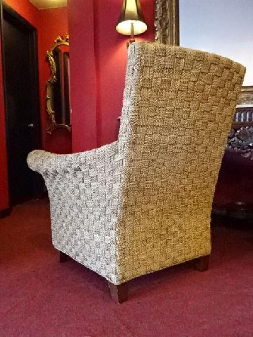 PAIR CRATE AND BARREL WOVEN RATTAN ARMCHAIRS, LIGHT OFF - 9