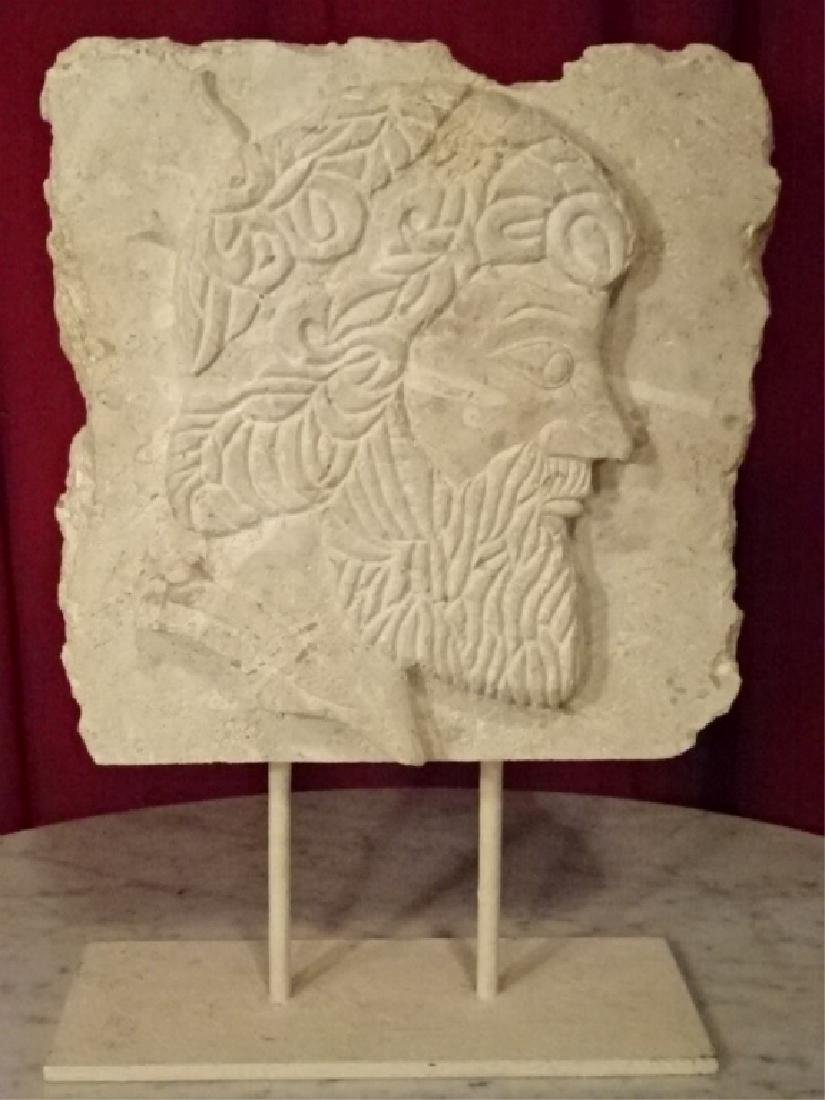 CARVED CORAL ROCK SCULPTURE, CLASSICAL MALE BUST IN
