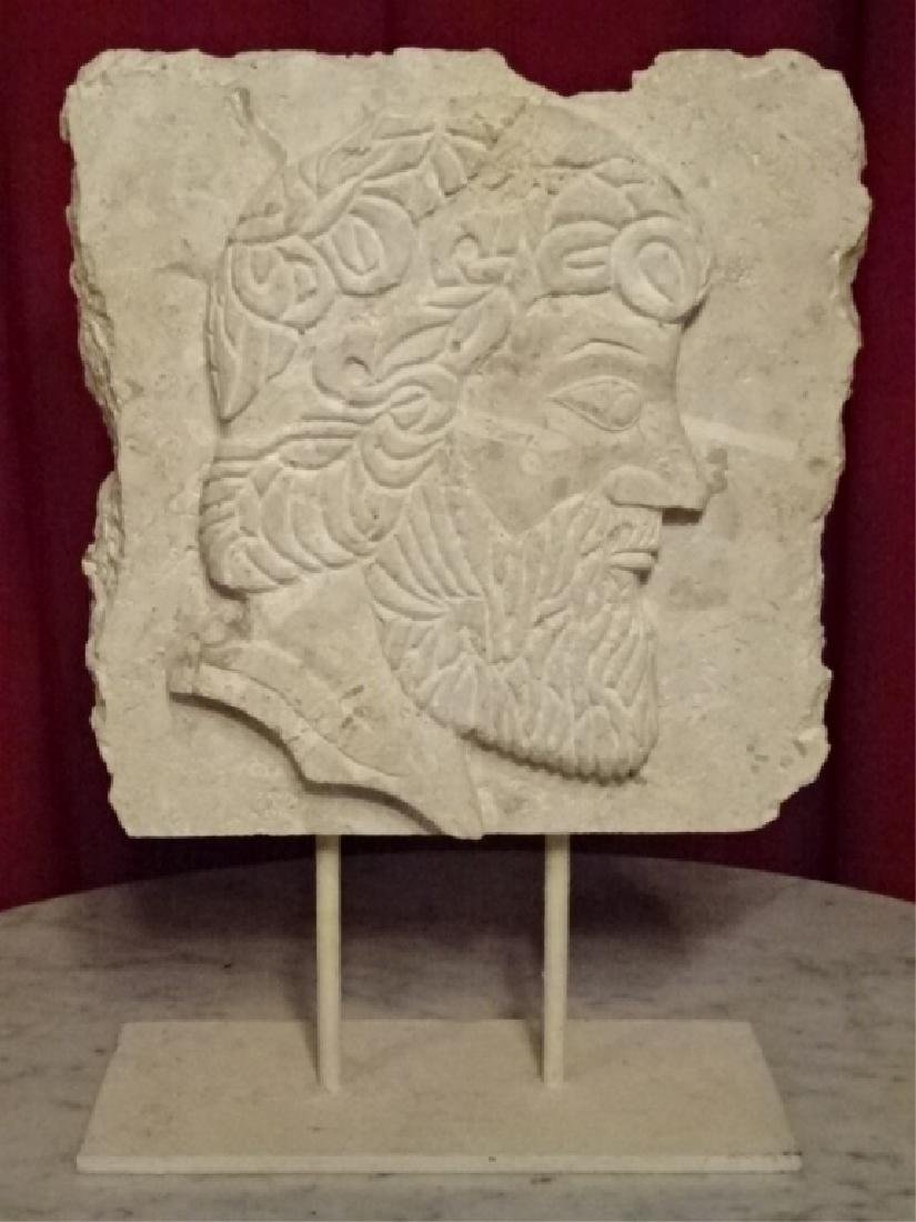 CARVED CORAL ROCK SCULPTURE, CLASSICAL MALE BUST IN - 2