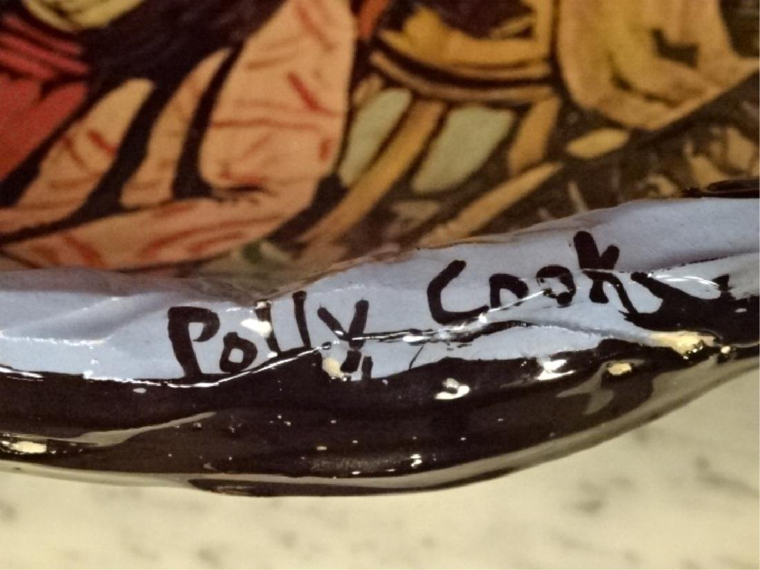 LARGE POLLY COOK HAND PAINTED CERAMIC BOWL, WOMAN AND - 4