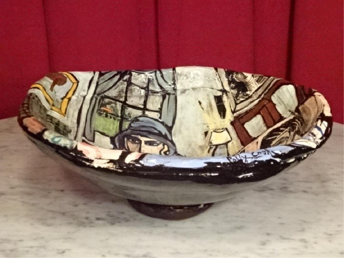 LARGE POLLY COOK HAND PAINTED CERAMIC BOWL, WOMAN AND - 5