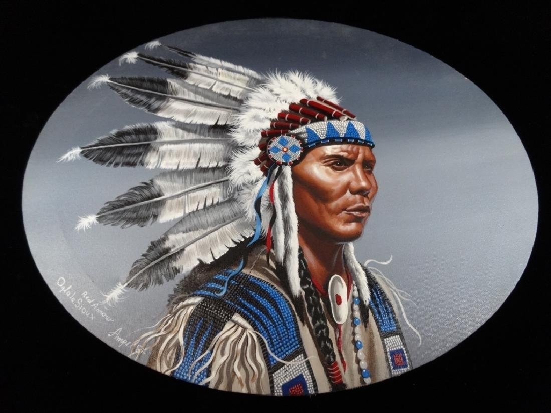 NATIVE AMERICAN PAINTING ON OVAL CANVAS, PORTRAIT OF