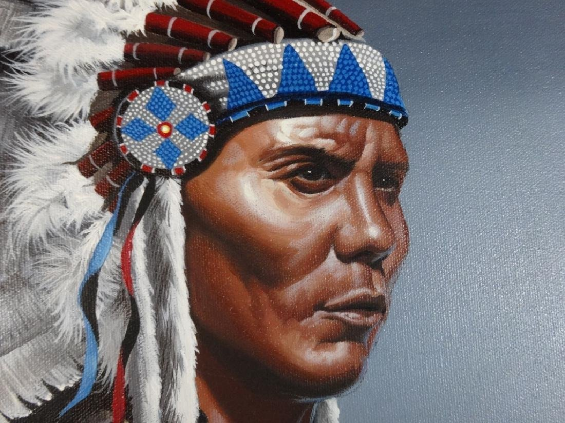 NATIVE AMERICAN PAINTING ON OVAL CANVAS, PORTRAIT OF - 2