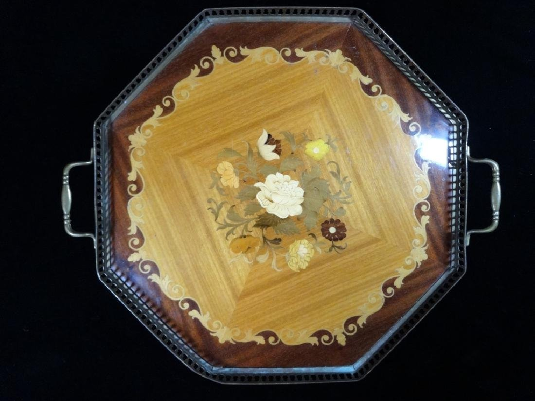 INLAID WOOD TRAY, FLORAL DESIGN, BRASS TRIM, APPROX 18""