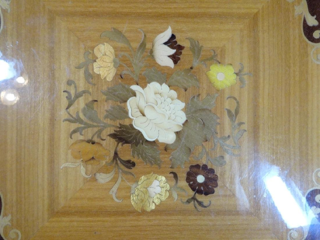 "INLAID WOOD TRAY, FLORAL DESIGN, BRASS TRIM, APPROX 18"" - 2"