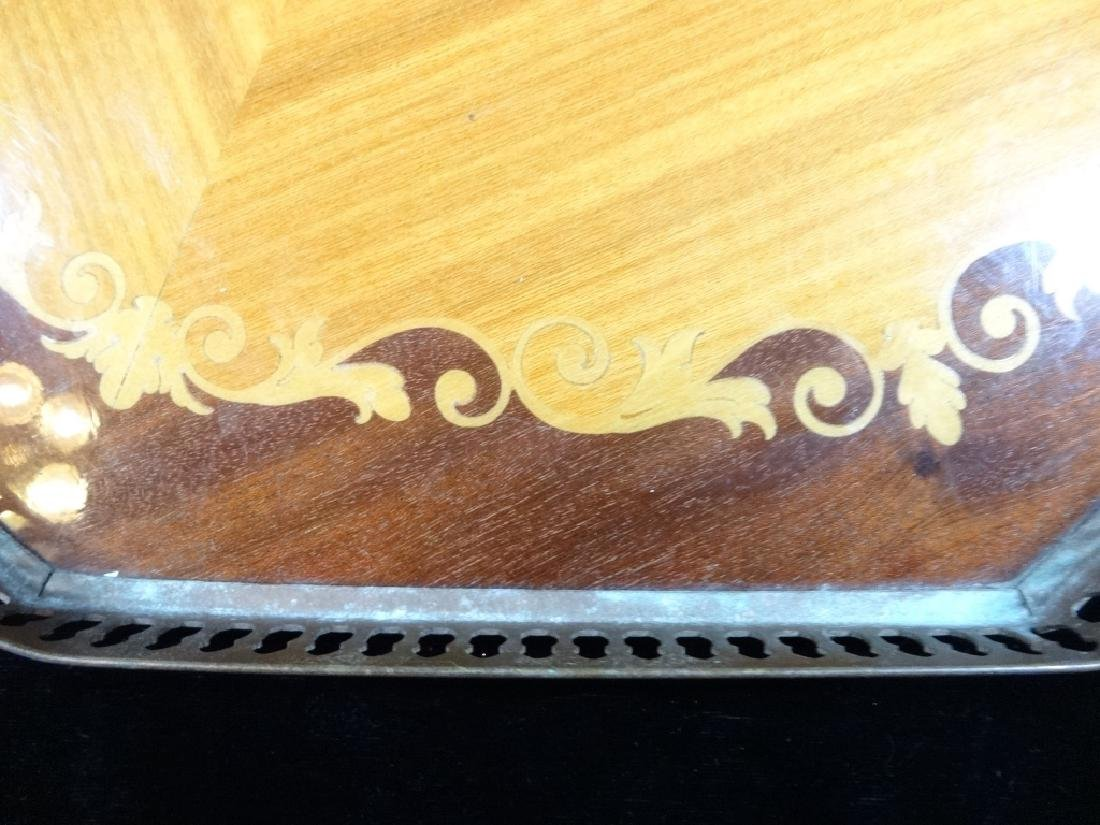 "INLAID WOOD TRAY, FLORAL DESIGN, BRASS TRIM, APPROX 18"" - 3"