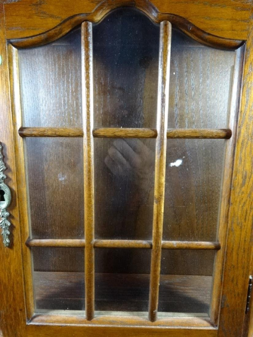 "WOODEN DISPLAY CABINET, WALL MOUNT, APPROX 20"" X 21"" - 3"