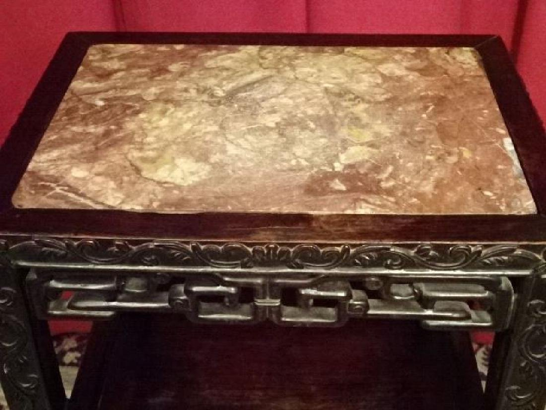 ANTIQUE CHINESE MARBLE TOP TABLE WITH UNDERTIER, GOOD - 3