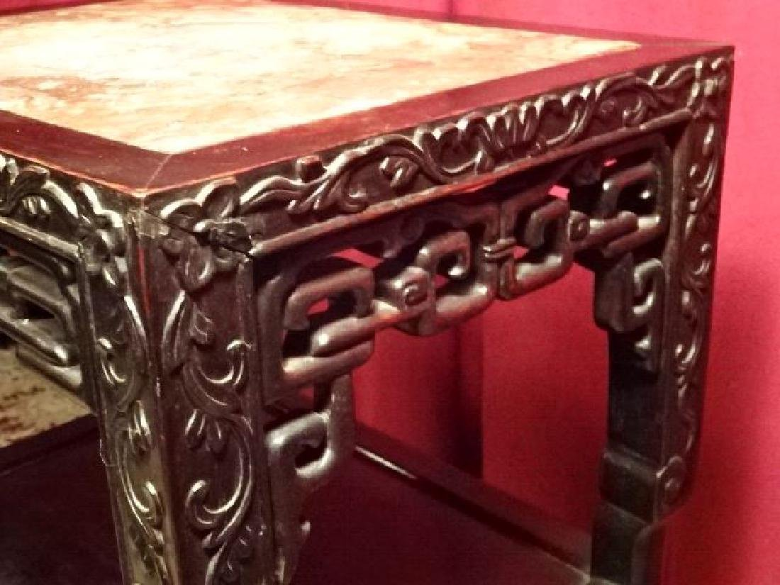 ANTIQUE CHINESE MARBLE TOP TABLE WITH UNDERTIER, GOOD - 5