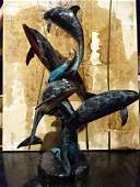 BRONZE SCULPTURE 4 DOLPHINS ON MARBLE BASE GILT AND
