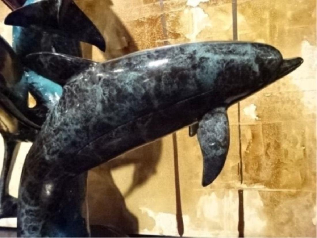 BRONZE SCULPTURE, 4 DOLPHINS ON MARBLE BASE, GILT AND - 6