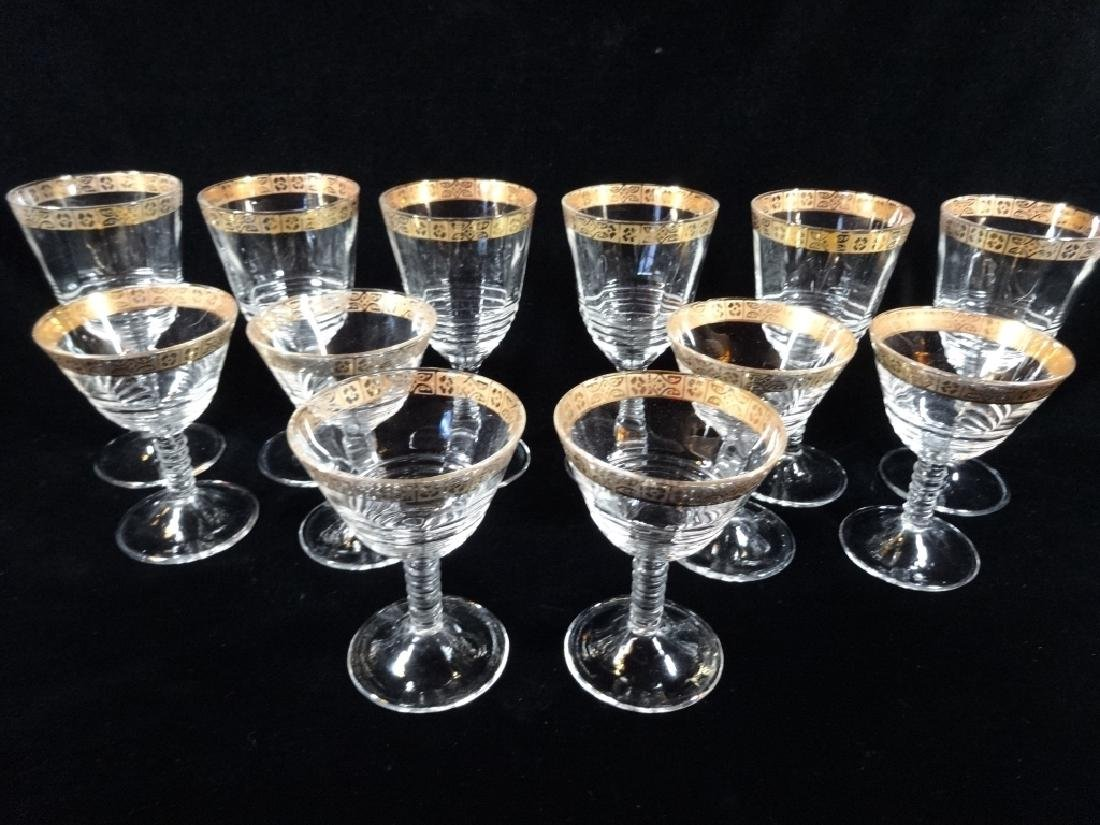 """12 PC GOLD RIM CRYSTAL STEMWARE, APPROX 6.75""""H & APPROX"""