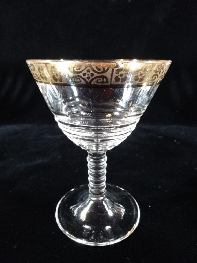 """12 PC GOLD RIM CRYSTAL STEMWARE, APPROX 6.75""""H & APPROX - 2"""