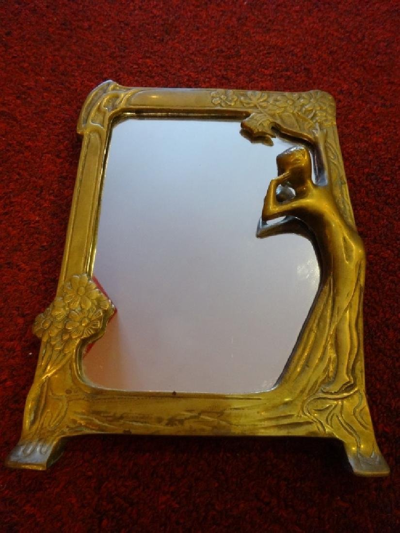 "ART NOUVEAU STYLE MIRROR, GOLD FINISH, APPROX 9.5"" X"