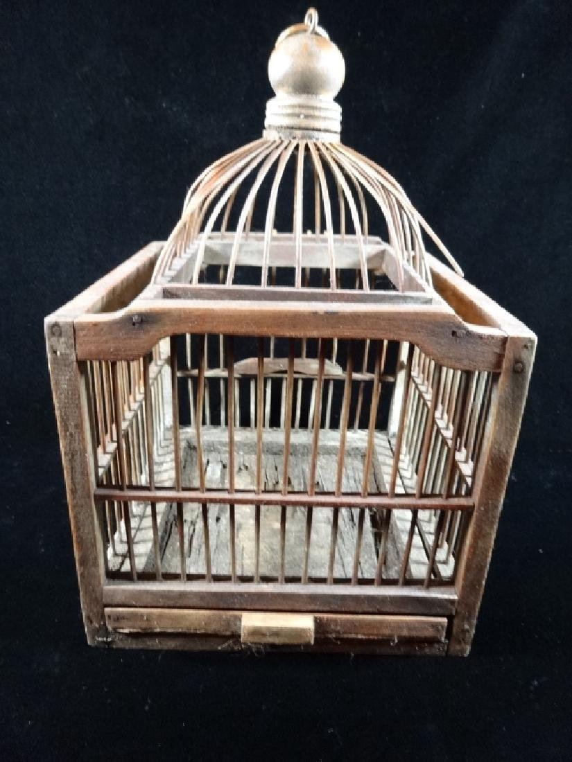 "WOODEN BIRDCAGE, APPROX 13"" X 8"""