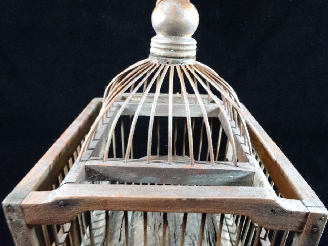 "WOODEN BIRDCAGE, APPROX 13"" X 8"" - 3"
