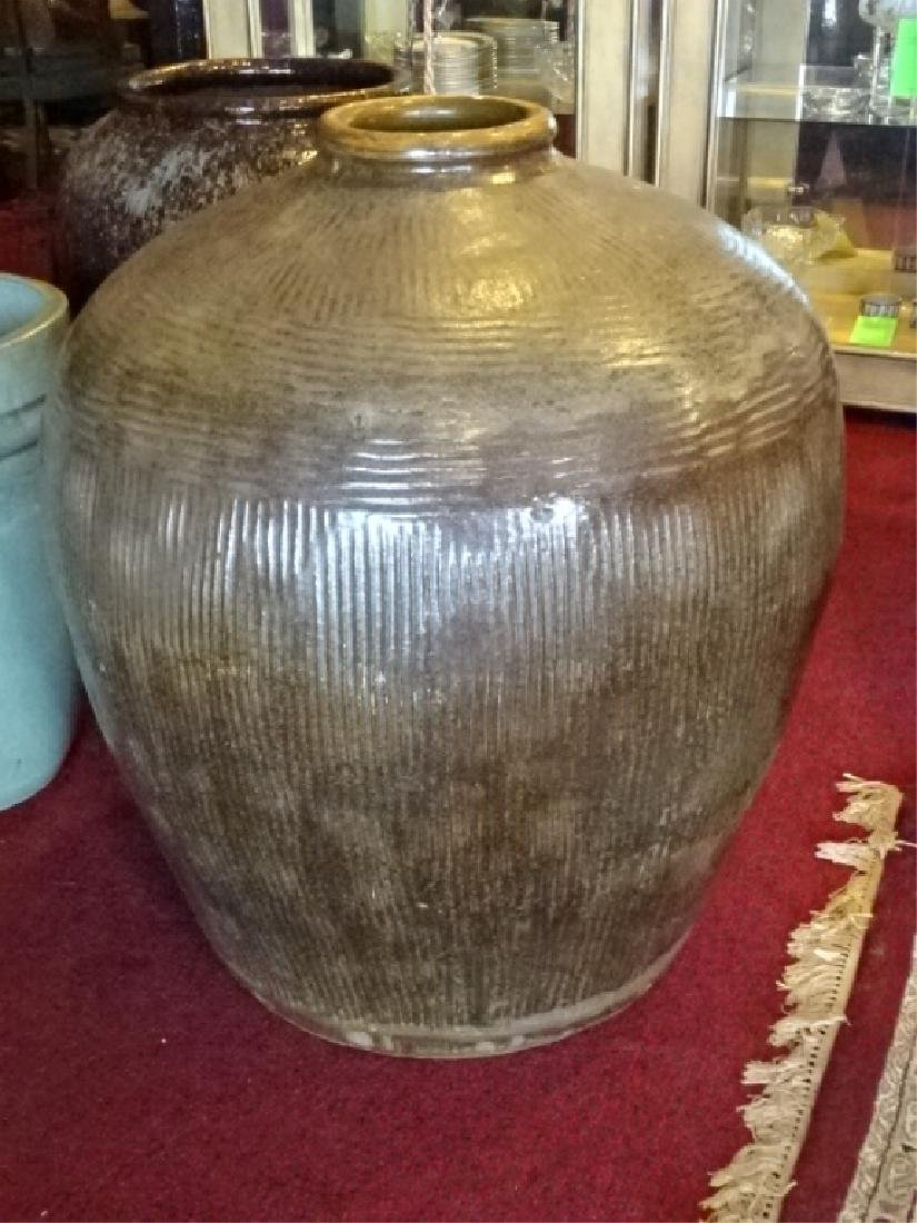 LARGE POTTERY FLOOR VASE, MOCHA COLOR GLAZE, VERY GOOD