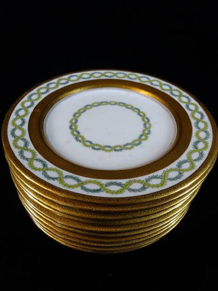 10 COALPORT PORCELAIN PLATES, WHITE AND GOLD WITH GREEN