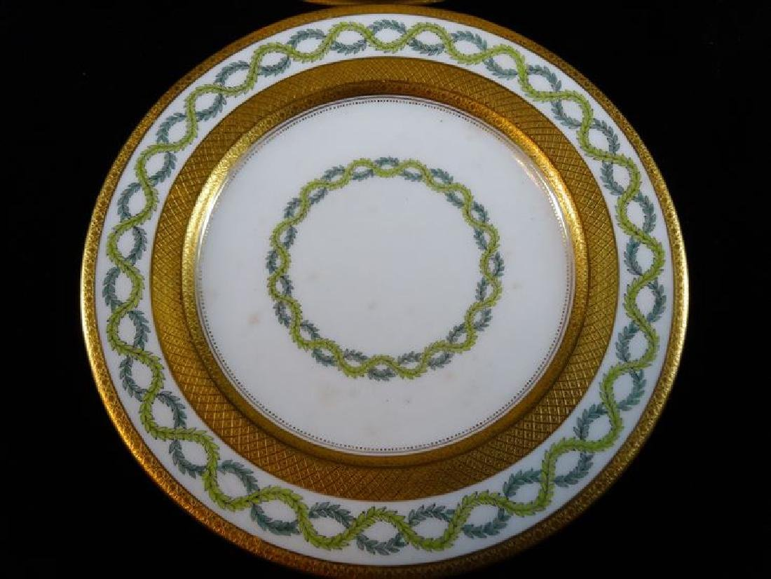 10 COALPORT PORCELAIN PLATES, WHITE AND GOLD WITH GREEN - 2