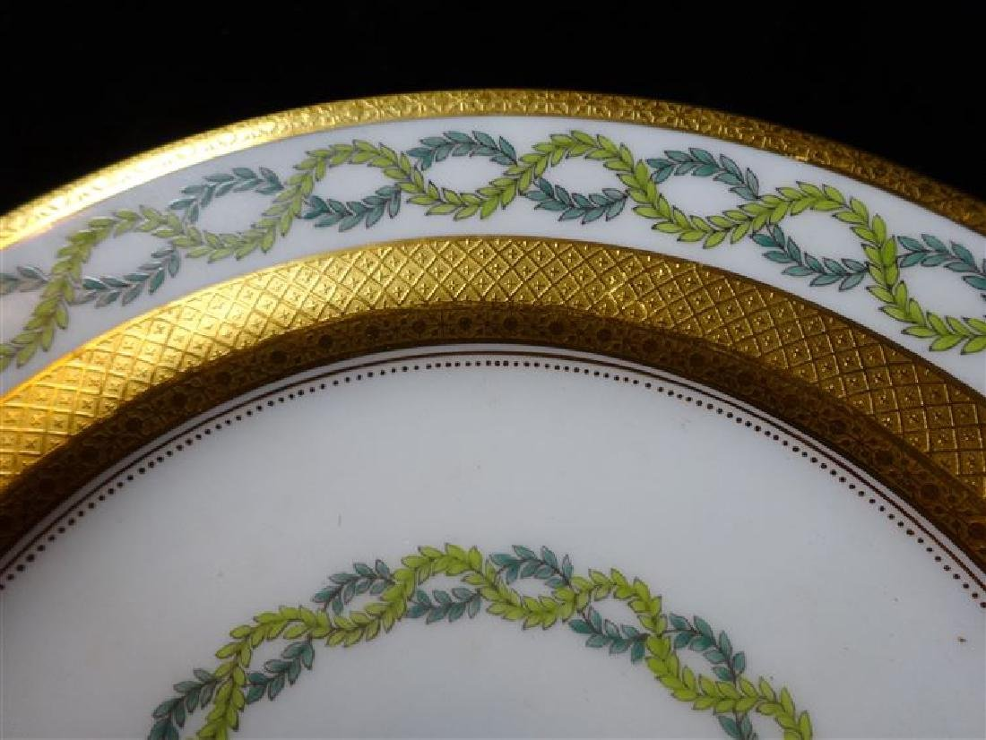 10 COALPORT PORCELAIN PLATES, WHITE AND GOLD WITH GREEN - 3