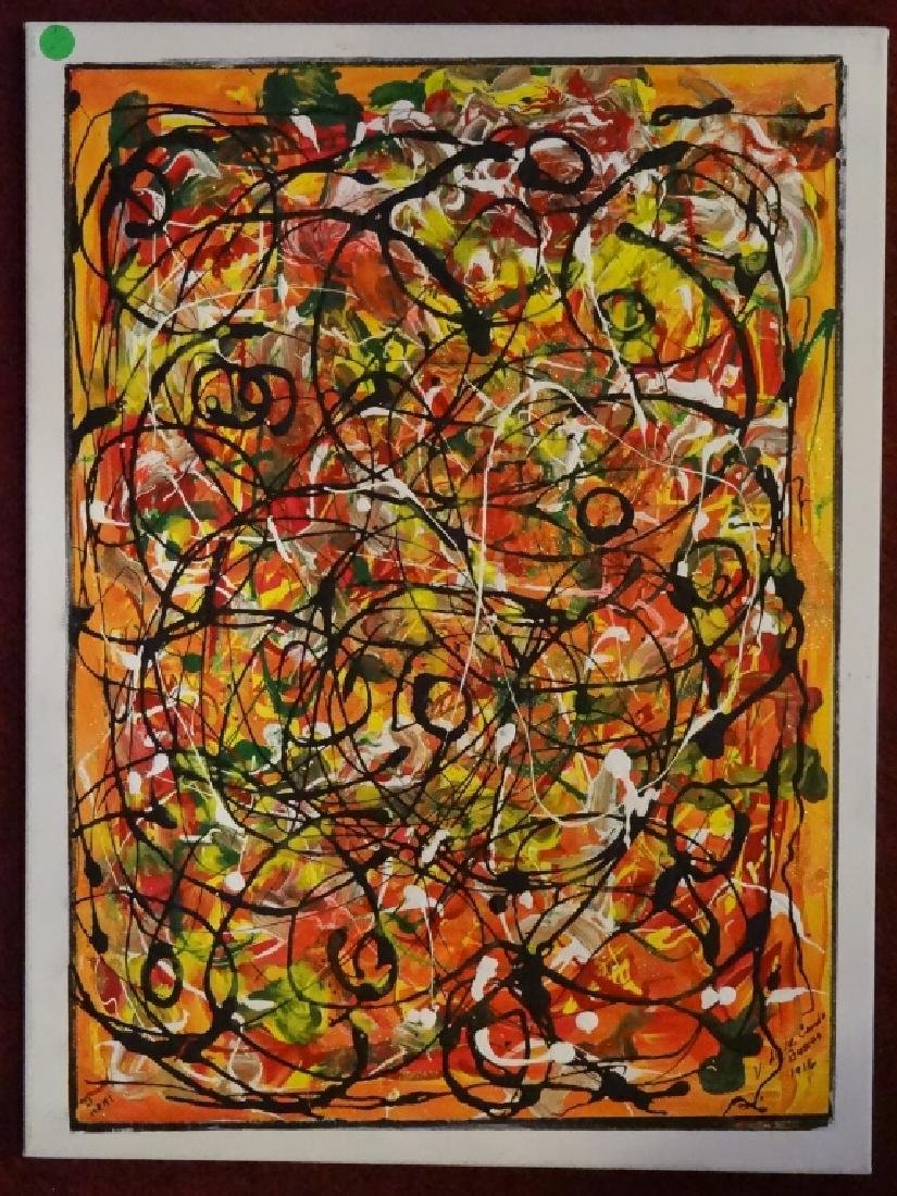 VIRGINIA BUSCEMI ABSTRACT PAINTING ON CANVAS, MULTI