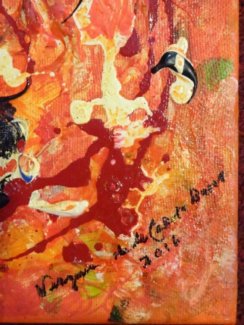 VIRGINIA BUSCEMI ABSTRACT PAINTING ON CANVAS, ORANGE - 2