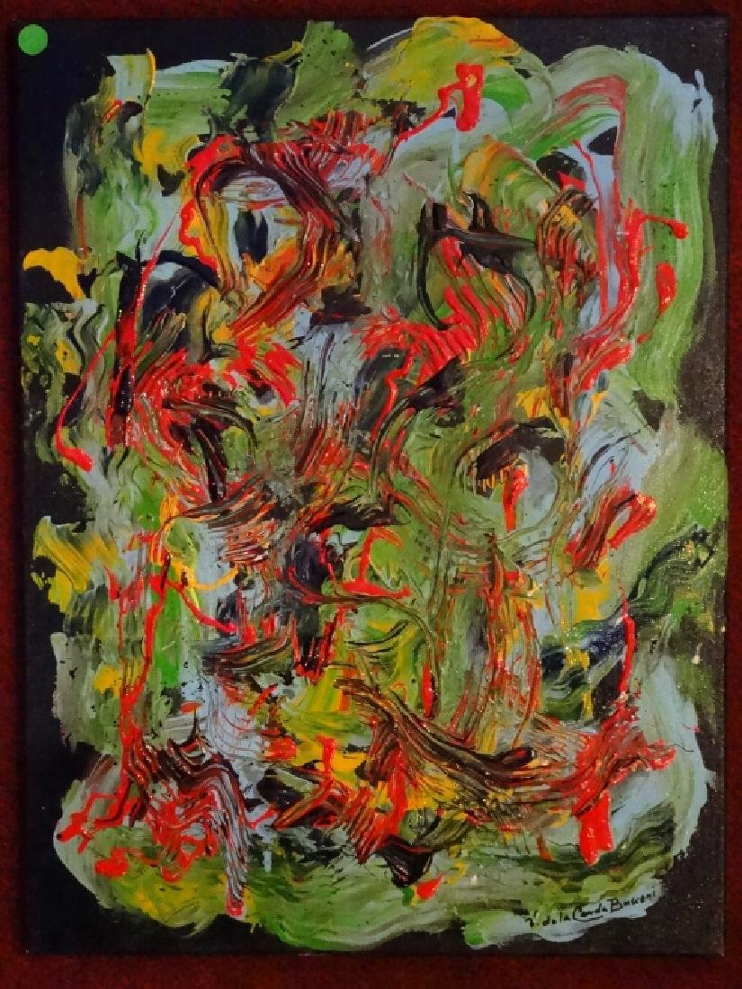 VIRGINIA BUSCEMI ABSTRACT PAINTING ON CANVAS, GREEN AND