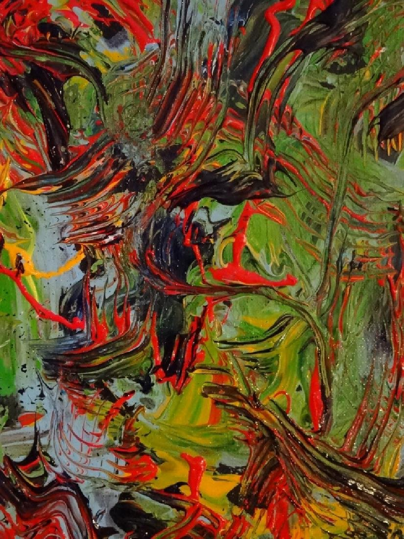 VIRGINIA BUSCEMI ABSTRACT PAINTING ON CANVAS, GREEN AND - 3