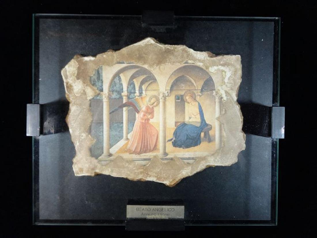 BEATO ANGELICO PAINTING ON NATURAL ROCK, IN SHADOWBOX