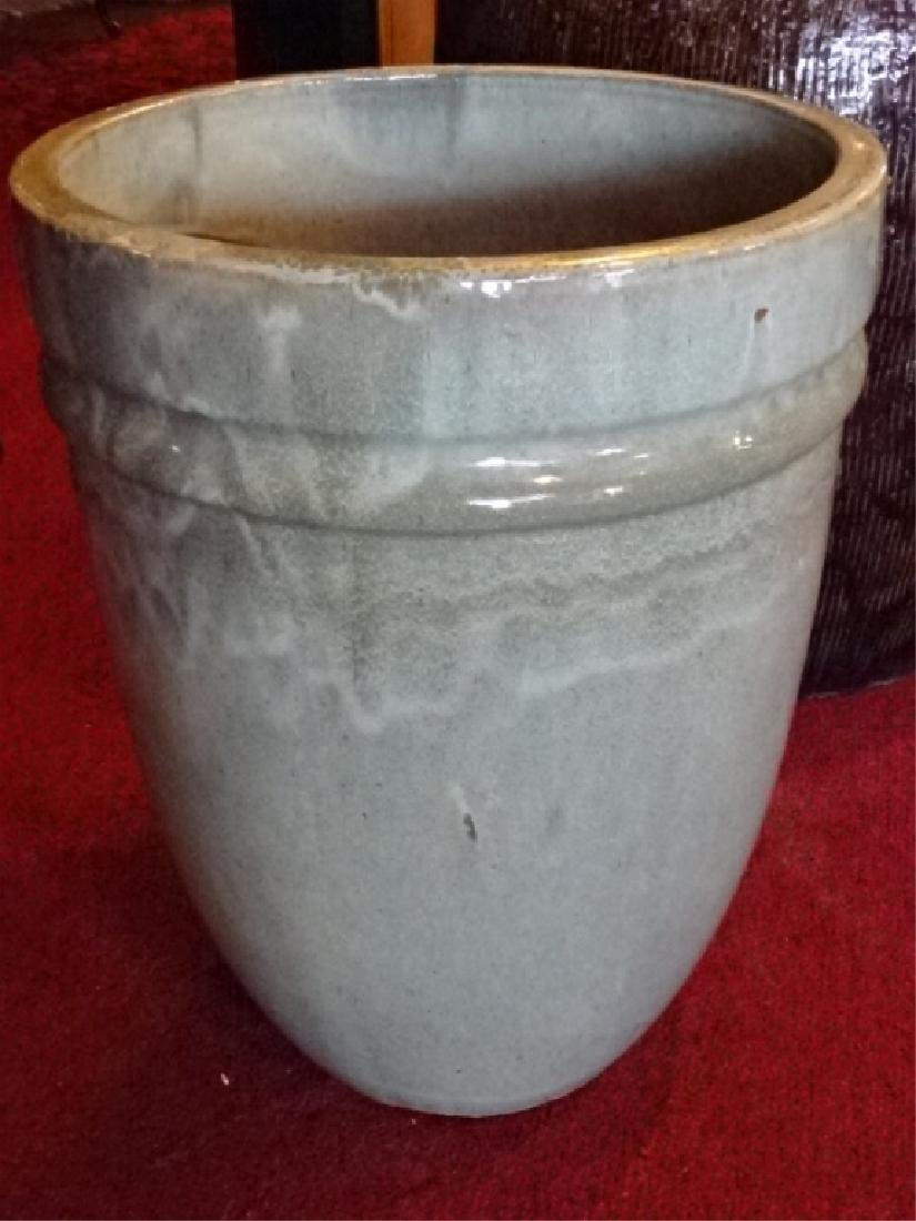 LARGE POTTERY PLANTER, PALE GREEN COLOR GLAZE, VERY